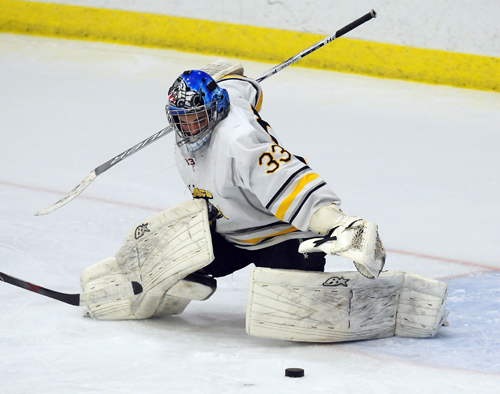 Lake Placid senior Kamm Cassidy was named as the CVAC most valuable player as a goaltender. He was also first team all-conference and second team all-state. (Enterprise photo — Lou Reuter)