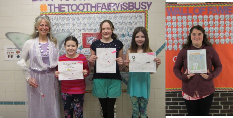 Petrova Elementary Dental Hygienist Suzanne Snizek, far left, presents the winners of the SLVHA Dental Slogan Contest, from left, Addison Dann, first-place winner Phoebe Peer, Molly Tooker and Sadie Blanchard.  (Photo provided)