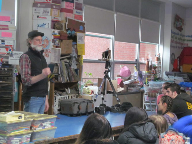 Photographer Mark Kurtz joined Saranac Lake Middle School for a talk about finding his love of photography. Kurtz shared his knowledge and artwork with seventh and eighth graders in Ms. DeAngelo's Life Long Art class. (Photo provided)
