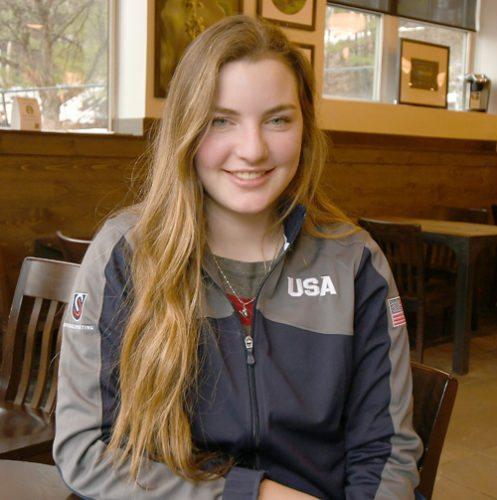 Esther Munoz enjoys some down time in Lake Placid earlier this week after a long season of speedskating. (Enterprise photo — Lou Reuter)