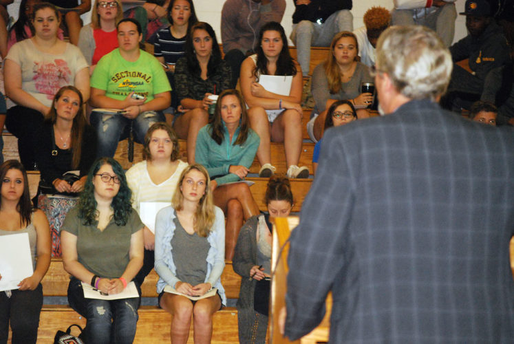North Country Community College students listen to college President Steve Tyrell at an orientation event on Aug. 30, 2016. NCCC is included in a New York plan to cover the complete cost of tuition at state colleges for full-time students from households making less than $125,000 a year, provided they work in New York for four years after graduation. (Enterprise photo — Chris Knight)