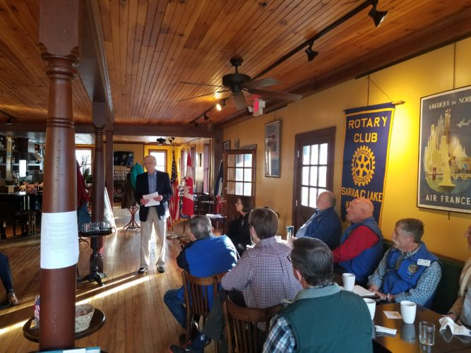 Paul Wilcott relates stories of kindnesses received while living abroad, particularly in Iraq and Jordan, to the Rotary Club of Saranac Lake at a recent meeting. The club meets each Tuesday at the Left Bank Cafe at 7:20 a.m. For more information about the Club contact us at saranaclakerotary@gmail.com. (Photo provided)