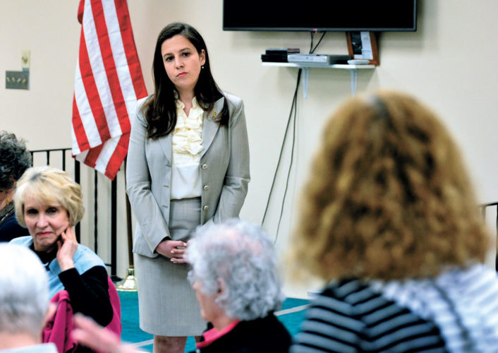 "Congresswoman Elise Stefanik listens as Liz Russo of Johnstown asks a question during ""Coffee with Your Congresswoman"" Monday at the Shirley J. Luck Senior Citizens Center in Johnstown. Stefanik was in town for the Fulton County Republican Chairman's Club dinner.  (Photo — Bill Trojan, The Leader-Herald)"