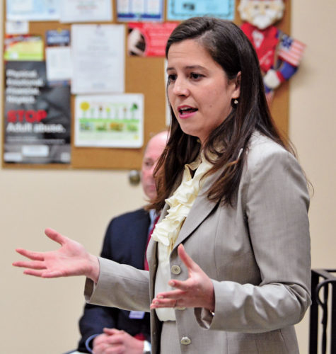 "Congresswoman Elise Stefanik gestures as she answers a question from a member of the audience during a ""Coffee with Your Congresswoman"" Monday at the Shirley J. Luck Senior Citizens Center in Johnstown. (Photo — Bill Trojan, The Leader-Herald)"