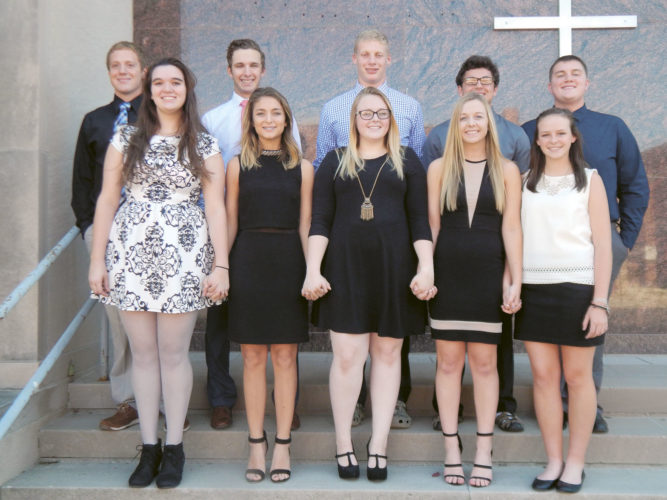 The Calvert High School homecoming court includes: (back row, from left): Tanner Smith, Peyton Deats, Corbin Kantner, Fred Fabrizio and Will Wagner; and (front row, from left) Alexandra Beckley, Claire Sullivan, Makayla DeMoss, Sidney Felter and Laura Haley.