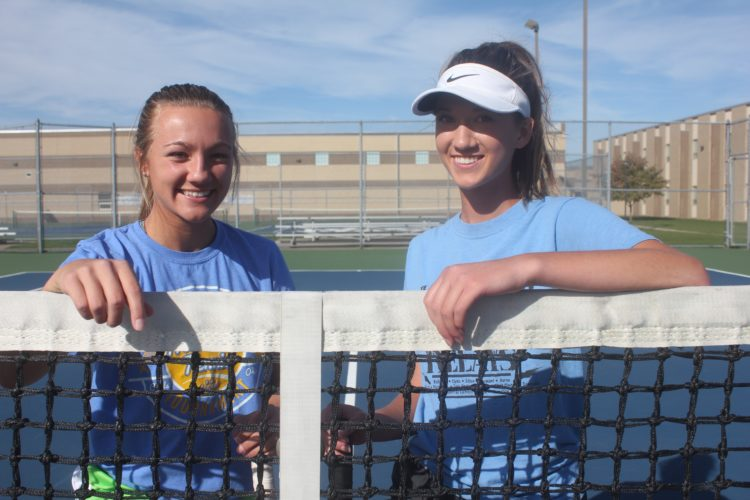 PHOTO BY AARON KORTE Clyde's Melissa Laconis (left) and Maddie St. Marie are shown Wednesday. The pair, both seniors will be making their first appearances at the state tennis tournament later this week.