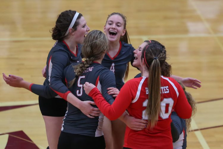 PHOTO BY STEVE WILLIAMS Buckeye Central players celebrate during Tuesday's Division IV district semifinal match against Old Fort in Willard.