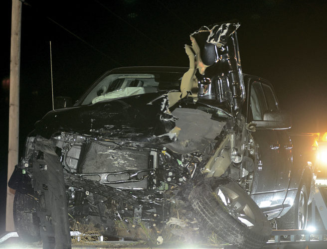 PHOTO BY JILL GOSCHE A Dodge pickup truck was destroyed in a hit-skip crash at SR 101 and SR 19 Thursday evening.