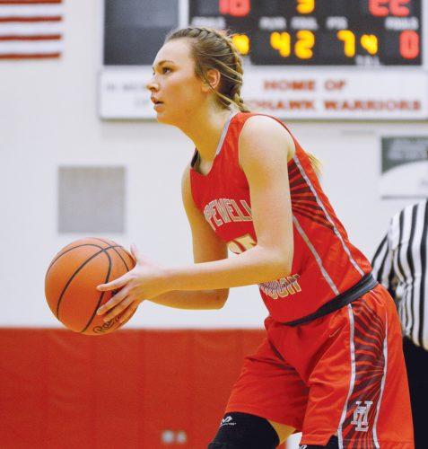 PHOTO BY JILL GOSCHE  Hopewell-Loudon's Kenadee Siebenaller prepares to shoot the ball during the game against Mohawk in Sycamore Tuesday.