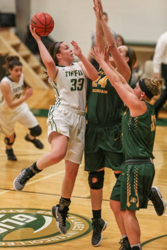 PHOTO BY STEVE WILLIAMS Tiffin's Madison Jackson (33) uses her body to shield Taylor Hodell (24) of Northern Michigan, as she shoots a mid-range jumper.