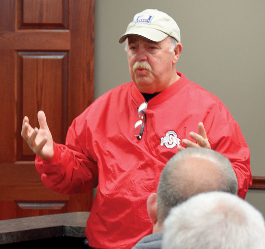 PHOTO BY JILL GOSCHE Commissioner Mike Kerschner leads a meeting of township and rescue officials Tuesday morning.
