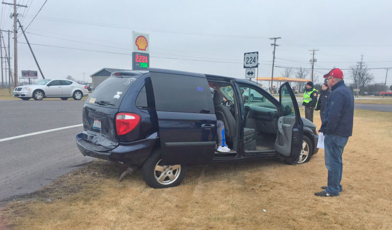 PHOTO BY SETH WEBER A Dodge Caravan was rear-ended at a red light at SR 100 and SR 224 Wednesday afternoon.
