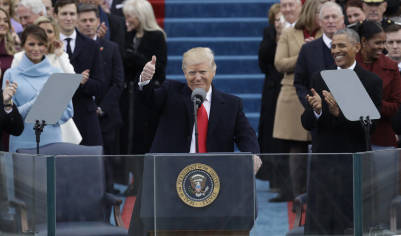 President Donald Trump gives a thumbs up after being sworn in as the 45th president of the United States. (AP Photo/Patrick Semansky)