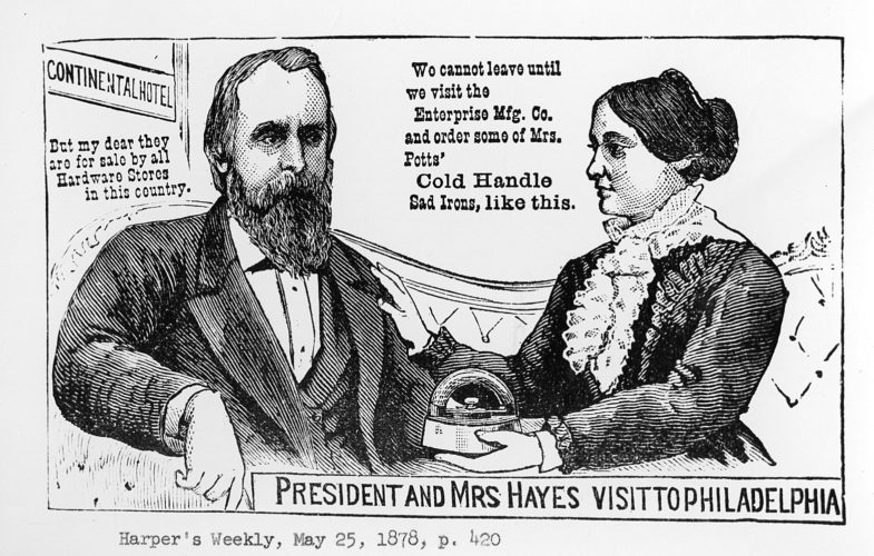 IMAGE SUBMITTED This political cartoon from Harper's Weekly depicts President Rutherford B. Hayes and first lady Lucy Hayes.