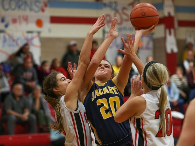 A-T FILE PHOTO BY STEVE WILLIAMS New Riegel's Brianna Gillig goes up for a shot last season against Cardinal Stritch.