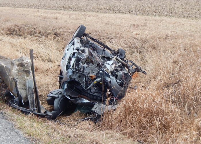 PHOTO BY SETH WEBER Rockne Martin, 65, of Attica, died after a rollover accident at TR 81 and TR 104 Wednesday afternoon. His vehicle hit a small bridge and flipped into a ditch.