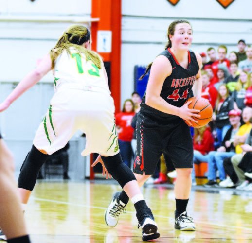 PHOTO BY JILL GOSCHE  Buckeye Central's Emma Studer controls the ball against the defense of Ottoville's Bridget Landin during the game in Elida Thursday.