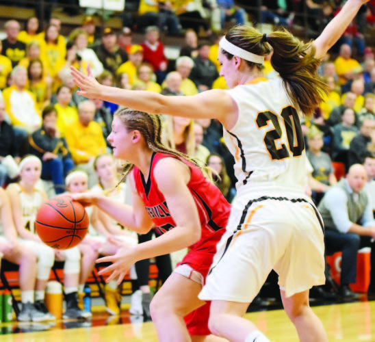 PHOTO BY JILL GOSCHE  Old Fort's Mackenzie Ward defends Hicksville's Katelynn Berenyi during the regional semifinal game at Elida Thursday.
