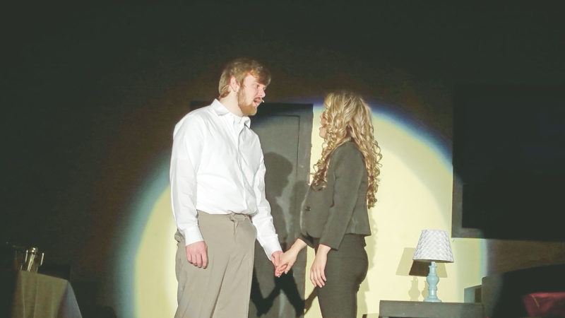 """PHOTO SUBMITTED Pictured are Megan Gillig as Annabel Glick (right) and Wyatt Priceas Harry Witherspoon in Mohawk Local Schools' production of """"Lucky Stiff."""""""