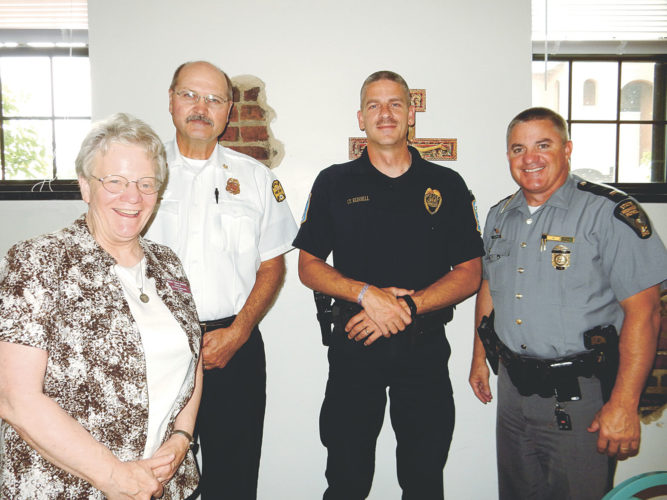 Some of the presenters at Operation Resilience have been (from left) Sister Edna Michel, director of the St. Francis Spirituality Center; Chief Bill Wilkins of Defiance Fire and Rescue; Lt. Aaron Russell of Tiffin Police Department; and Lt. Brent Meredith of Ohio State Highway Patrol, Fremont post.