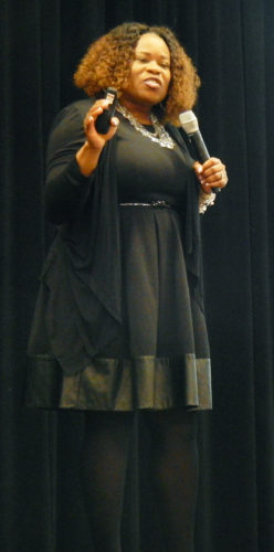 PHOTO BY NICOLE WALBY Ronnette Burkes, warden of the Ohio Reformatory for Women, speaks Thursday in Marion Center as part of Tiffin University's Good Morning World lecture series.
