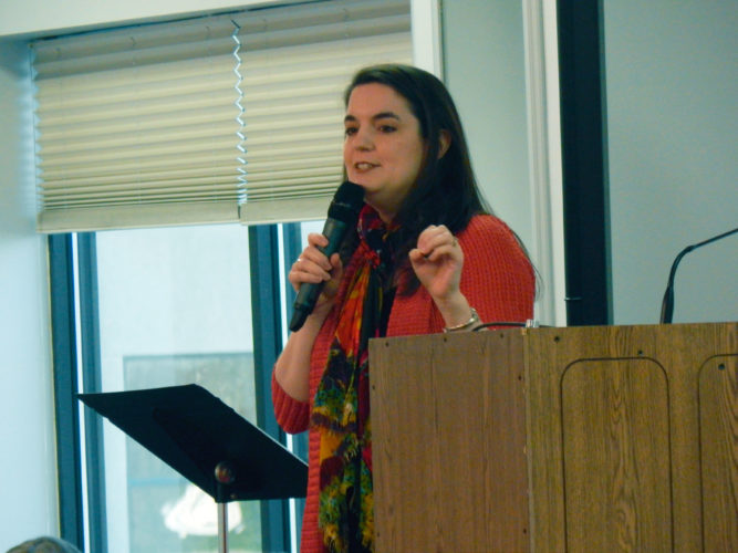 PHOTOBYNICOLEWALBY Award-winning speaker, author, singer/songwriter Jennifer Shaw speaks during the annual Women ACT conference Saturday at Camden Falls Reception and Conference Center.