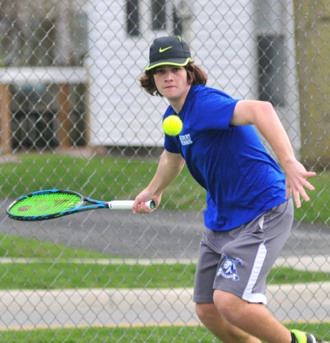 PHOTOBYPATGAIETTO Calvert's first singles player Ryan Gase makes a return against Vermilion Tuesday in Tiffin.