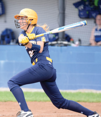 PHOTO BY JILL GOSCHE New Riegel's Lindsay Bouillon gets a hit during the game against Calvert in Tiffin Thursday.