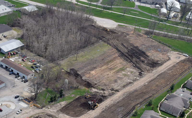 PHOTO BY JILL GOSCHE Land has been cleared at 1692 W. Market St. to make way for the Tiffin Pointe housing development, as seen from a plane piloted by Tiffin Aire.