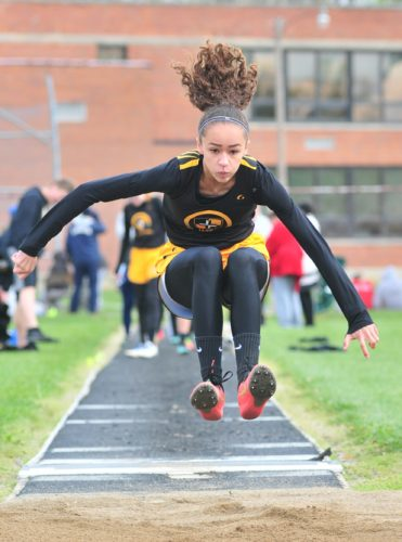 PHOTO BY PA GAIETTO St. Wendelin's Aleiya Douglas competes in the long jump Saturday.