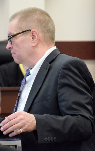PHOTO BY JILL GOSCHE Thomas Nicholson, attorney for Matthew A. Keckler, delivers an opening statement during Keckler's trial in Seneca County Common Pleas Court Judge Michael Kelbley's courtroom Monday afternoon.