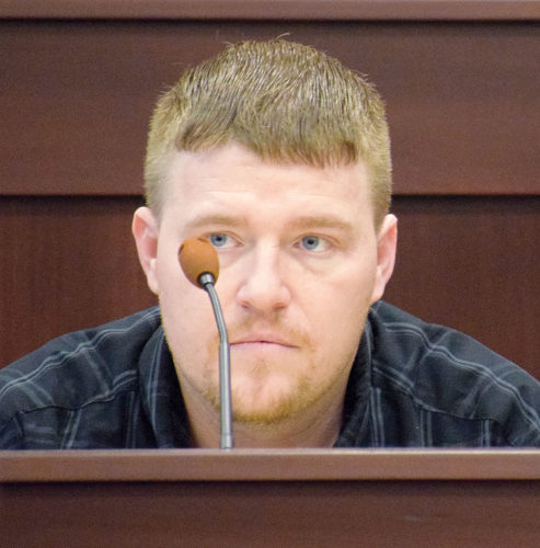 PHOTO BY JILL GOSCHE Matthew Keckler spends time on the witness stand in his own defense Tuesday afternoon.