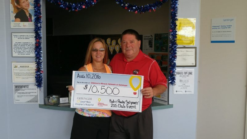 Courtesy photo Long-time Children's Miracle Network supporters Paula and Bob Salyards (shown above) hosted a 200 Club event on July 23 at the Swiss Club of Altoona, which included games, a basket raffle and a spaghetti and meatball dinner. The Salyards helped raise $10,500 for Children's Miracle Network at Geisinger. The funds raised by this event will help to provide pediatric equipment, programs and services at Janet Weis Children's Hospital and throughout Geisinger Health System.