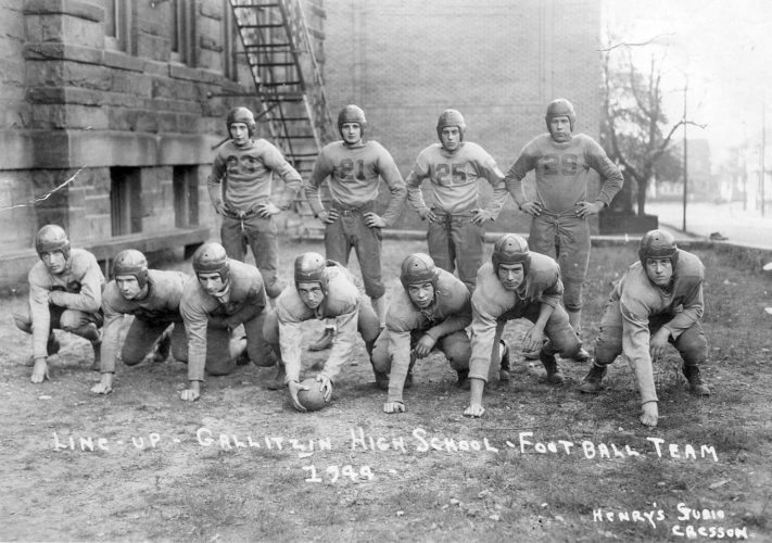 James Garlena of Duncansville submitted this photo of the 1944 Gallitzin High School football team. Shown are (from left): first row — G. Bosko, Leo Garlena, F. Romani, C. Wilt, L. Paloski, B. Campbell, S. Niles; second row — F. Madie, R. Madie, D. Plunkett and B. Buckrop. Results of the 1944 season include: Altoona Catholic 13, Gallitzin 6; Gallitzin 12, Lilly 7; Armaugh 12, Gallitzin 7; Spangler 0, Gallitzin 0; Hastings 12, Gallitzin-12; Gallitzin 46, Heilwood 0; Cresson 14, Gallitzin 0.