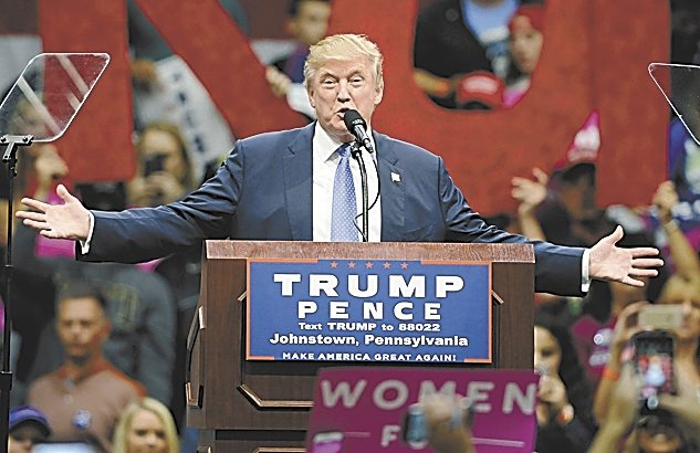 Republican presidential nominee Donald Trump rallies supporters at the Cambria County War Memorial Arena in Johnstown on Friday.