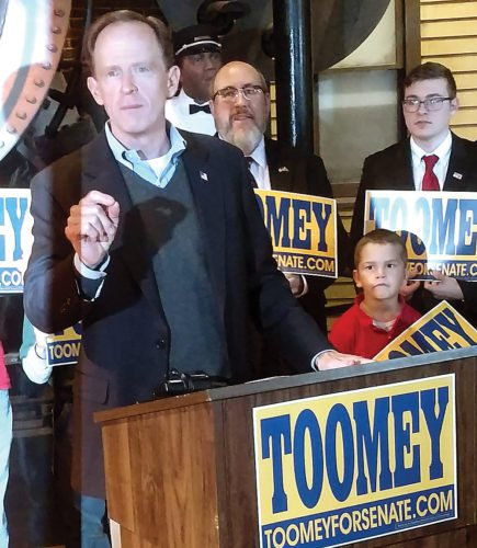 Sen. Pat Toomey, R-Pa., struck at opponent Katie McGinty during a campaign stop at the Altoona Railroaders Memorial Museum on Tuesday.
