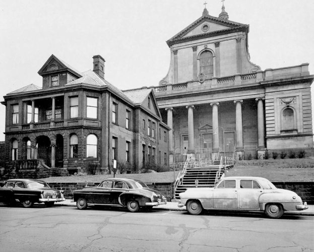 The bishop's house stands in front of the Cathedral of the Blessed Sacrament in this May 1959 photo. William Barger of Altoona submitted this photo he found with Sheldon Burns' name on the back. Burns was owner of the 11th Avenue Camera Shop.  Readers are encouraged to send or deliver old local photographs of general interest for use in Yesteryear. Information about people and places should be included. Photos must be 30 years old or older and should be sent to Yesteryear, Altoona Mirror, P.O. Box 2008, Altoona, PA 16603, or delivered to the Editorial Department.