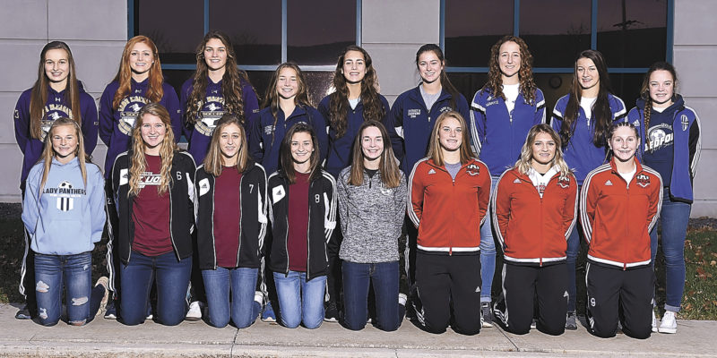 Mirror photo by J.D. Cavrich 2016 Altoona Mirror girls soccer first-team all-stars include (from left): First row—Penn Cambria's Emmy Harvey, Altoona's Megan Vigne, Eva Aveni and Paris Haugh, Northern Bedford's Sadie McConnell, Central's Kaitlyn Laird, Ashley Negley and Olivia Smith. Second row—Bishop Guilfoyle's Kierra Miller, Delaney Myrick and Devyn Yingling, Hollidaysburg's Mandy Sky, McKenna Hurd and Sydney Routch, Bedford's Emily Martz, Amber Thomas and Amelia Beland. Absent for photo was Moshannon Valley's Autumn Adams.