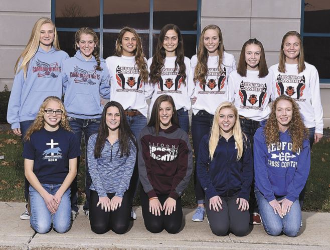 Mirror photo by J.D. Cavrich 2016 Altoona Mirror girls cross country first-team all-stars include (from left): First row—Bishop Carroll's Sarah Farabaugh, Hollidaysburg's Sierra McClain, Altoona's Amanda Chamberlain, Hollidaysburg's Bridget Perry, Bedford's Allison Pittman. Second row—Cambria Heights' Quinn McElhenny and Alexis Niebauer, Central Cambria's Carly Kaschalk, Emma Wess, Paige Wess, Kacy McKeel and Sydney Gilkey.