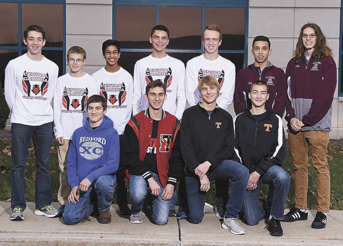 Mirror photo by J.D. Cavrich 2016 Altoona Mirror boys cross country first-team all-stars include (from left): First row—Bedford's Garret Cornell, Tussey Mountain's Trenton Husick, Tyrone's Joe Kohler and Zach Kohler. Second row—Central Cambria's Nate Kuntz, Zach Brandis, Ohm Vyas, Duncan Lambie and Mike Walwro, Altoona's Greg Williams and Haden Boutiller. Absent for photo was Altoona's Brady McCarthy.