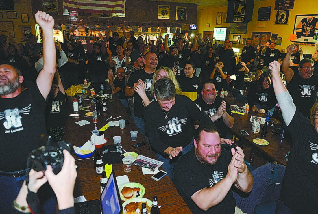 """Mirror photo by Gary M. Baranec / Fans of Cresson-area native Josh Gallagher applaud after learning that he advanced to the final four on NBC's """"The Voice"""" on Tuesday night at the Sankertown VFW."""