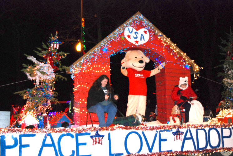 "Jordan Beck | Daily Press The Delta Animal Shelter was one of over 40 businesses, churches, and organizations represented in Escanaba's annual Christmas parade. The theme of this year's parade was ""A Star-Spangled Christmas."""