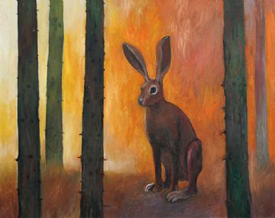 "Courtesy photo Juror Helen Klebesadel selected ""Rabbit and Forest Fire"" by Joyce Koskenmaki, of Hancock, as the first place winner of Northern Exposure XXIII."