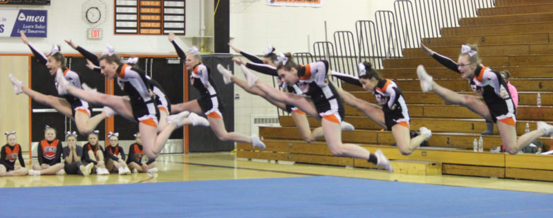 Dennis Grall | Daily Press Members of the Escanaba cheerleading squad perform a routine in Round 2 at Thursday's Elks Cheer Invitational. Esky won the D-3 title with 721.84 points. Gladstone finished second in D-3.