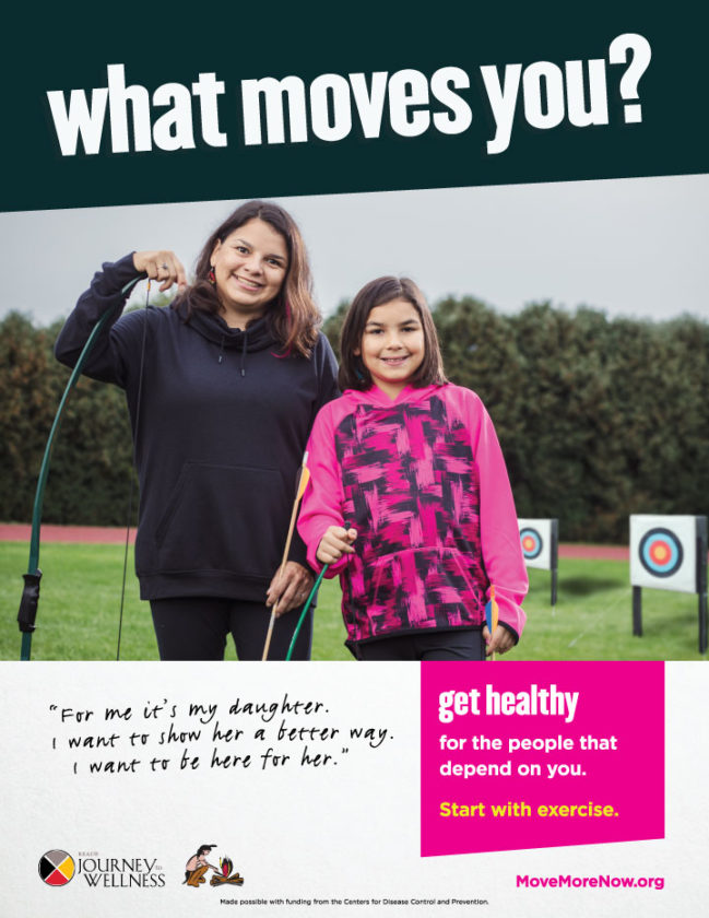 "Courtesy photo Above, Amanda Hess and her daughter Nadia are pictured in a poster for the ""What Moves You?"" campaign. The statewide campaign focuses on encouraging physical activity."