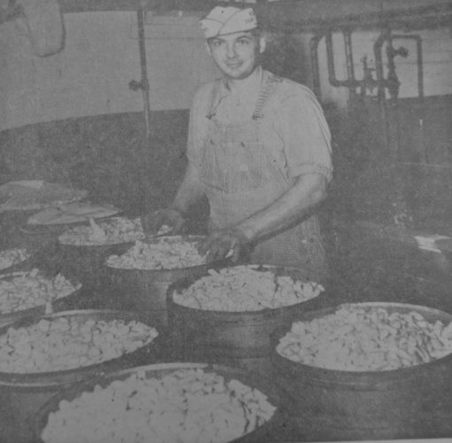 Daily Press photo Cheesemaker Adolph Miller, of the Rapid River Co-op, is shown doing his cheese making chores in this 1953 Escanaba Daily Press picture. The creamery, when in operation, received milk from 175 producers and made 800,000 pounds of cheese and butter annually.
