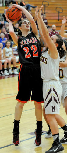 EagleHerald | Stephen Oman Escanaba's Maddy Willis puts up a shot over Menominee's Morgan Roman in the first half Tuesday in Menominee.