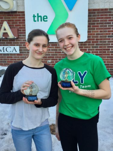 Courtesy photo Northern Lights YMCA swimmer Anna Rouleau, left, won the high points categor at the Iceberg Invitatoinal. Teammate Carney Saolo finished second overall in the same division.