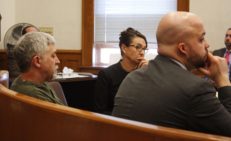 Jenny Lancour | Daily Press Murder suspect Gregory Scott Ihander, at left, and his attorneys Karen Groenhout and Alex Sieminski listen in court Tuesday to the undercover audio recording of Ihander's initial interview with police on Sept. 9, 2015, after Jolene Eichhorn's body was found in Menominee County.