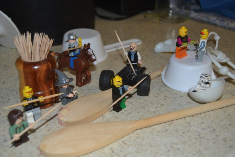 Courtesy photo Little LEGO people having a toothpick fight in Karen's kitchen.